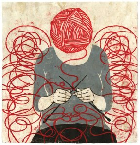Would knitting tie my ego into knots, or unravel it?Illustration by Edel Rodriguez.
