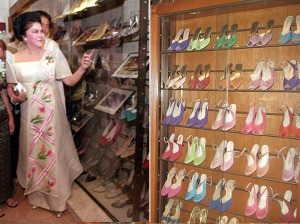 Imelda at her shoe museum.  guardian.co.uk; manilagateway.com/attractions/shoe-museum