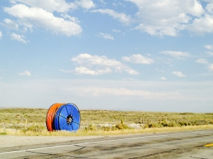 Shunpiking. This stretch of Wyoming road is off the grid...for the time being.
